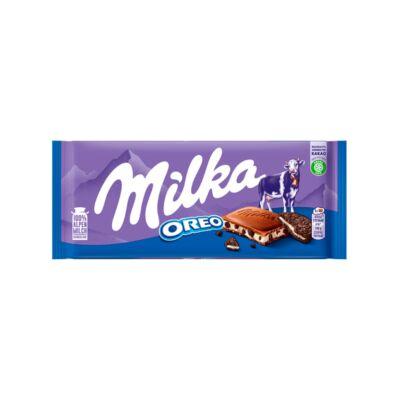 Milka Oreo alpesi tejcsokoládé kakaós kekszdarabkákkal és vaníliaízű tejes krémtöltelékkel 100 g