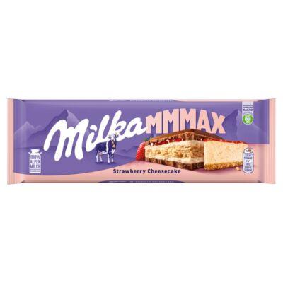 Milka alpesi tejcsokoládé sajttortaízű krémtöltelékkel, epres töltelékkel és keksszel 300 g